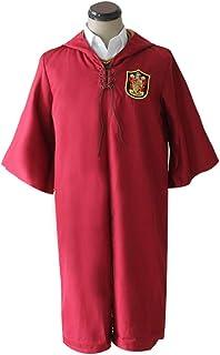 Baipin Disfraz de Cosplay para niños Adulto Unisex Capa Disfra Conjunto Disfraz de Quidditch Gryffindor Ravenclaw Slytherin Hufflepuff Costume para Cosplay, Halloween,Rojo