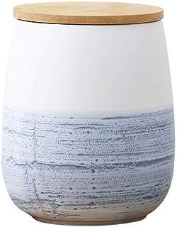 ZHTY Pots de Rangement en céramique avec Couvercle en Bois, récipient de Cuisine hermétique en marbre de Style Nordique po...