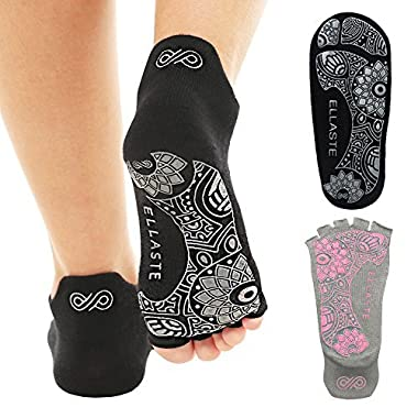 Ellaste Open Toe Yoga Socks – Non Slip Half Toe Sock with Anti Skid Grip for Yoga Pilates Barre: for Women Girl (Black, Large (Women 9~12, Men 8~11))