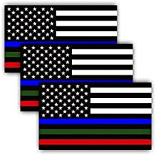 3 PAK MILITARY STICKER, POLICE DECALS American Flag Sticker Blue Green and Red stripe for cars trucks to honor and support our TROOPS, POLICE, FIRE / EMT - 3 in one sticker 5 inch - Back The Blue