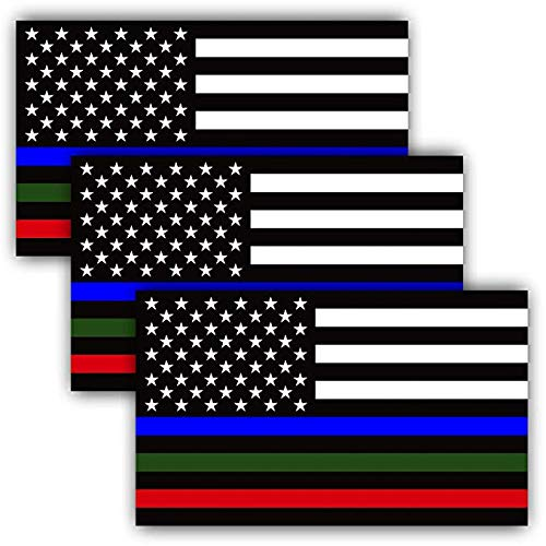 3 PAK Military Sticker, Police Decal American Flag Thin Blue Line Green, Red Stripe, Cars Trucks, Honor. Support Troops, Police, First Responders - 3 in one Sticker 5 inch - Back The Blue