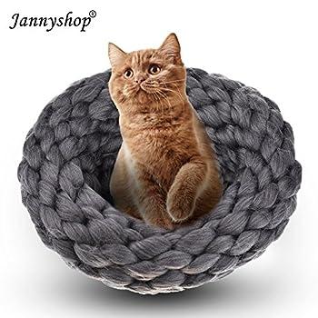 Jannyshop Lit Panier pour Chat Sac de Couchage Nid Tricoté à la Main pour Chat/Chaton (Gris, M)