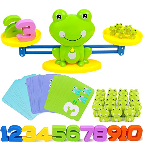 CozyBomB Homeschool Kindergarten Balance Board Game - Preschool Activities Math Learning Stem Montessori Cool Toys Educational with Frog Scale Cards Balancing Numbers for Kids Ages 3 4 5 6 Year Old