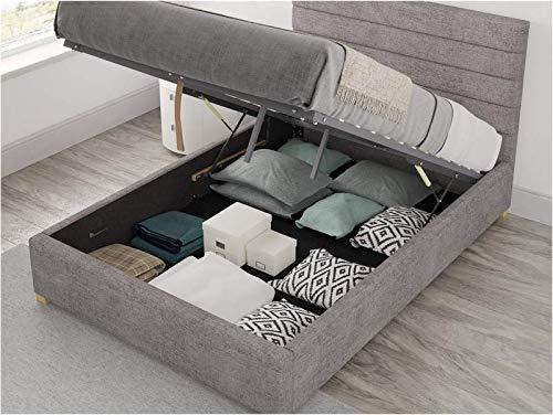 Brayden Studio Modern Mraz Upholstered Ottoman Storage Bed - Kingsize (5') (Silver)