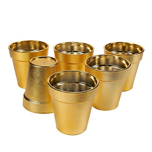 Juvale Plastic Plant Pot - 6 Pack Kleine Bloem Potten, Bloempot Planters voor Binnen, Outdoor Plant, Succulent Display (Goud, 3.75 x 4 in)