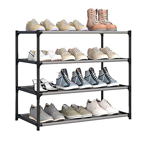 LGWZ Estructura De Almacenamiento De Zapatos Fáciles De Ensamblar, Tubo De Acero Grueso Y Rejilla No Tejida, Estante De Acero Portátil, Perchero para Hombres Y Mujeres (Negro),4
