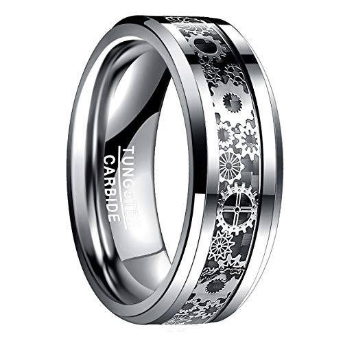 Natur Fashion - Anello Uomo Donna con Design Meccanico ingranggio in Argento + Nero 8mm Tungsteno Taglia 19 59 (18,8 mm)