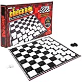 Gamie Checkers Board Game, Classic Foldable Family Board Game for Game Night, Indoor Fun and Parties, Develops Logical Thinking and Strategy, Best Gift Idea for Kids