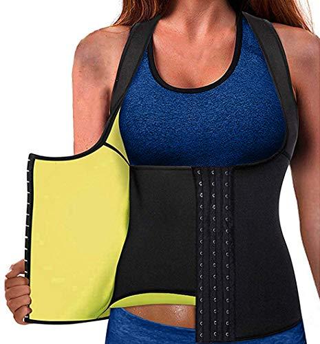 Memoryee Cinturón de Entrenamiento de Neopreno para Mujer Corsé Chaleco de Sudor Pérdida de Peso Cuerpo Ajustable Shaper Workout Tank Tops/Negro/L