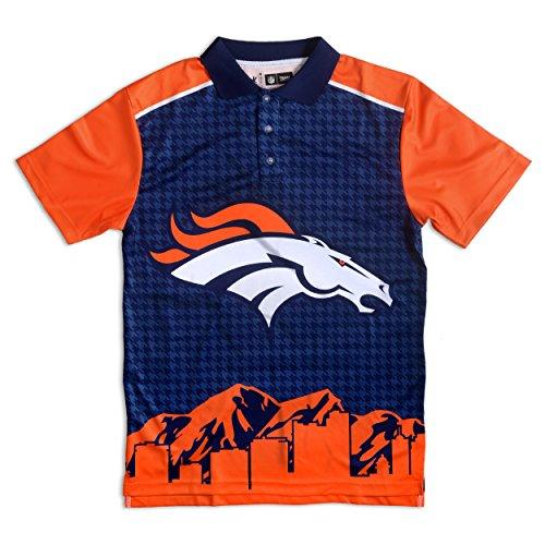 Foco mens NFL Polyester Short Sleeve Thematic Polo Shirt BLUE, Denver Broncos