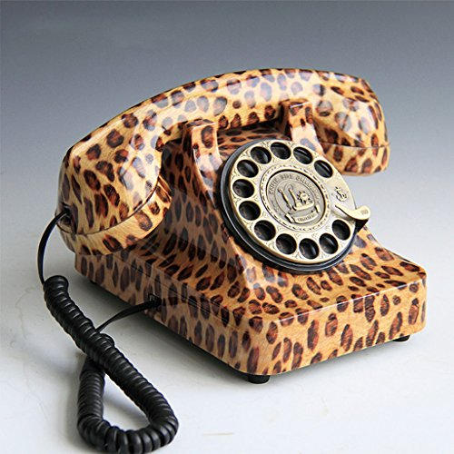 LQ Europeo Creativo Retro rotar marcando Moda teléfono con Cable de la Oficina en casa Regalo de Arte línea Fija (Color : Leopard Print)