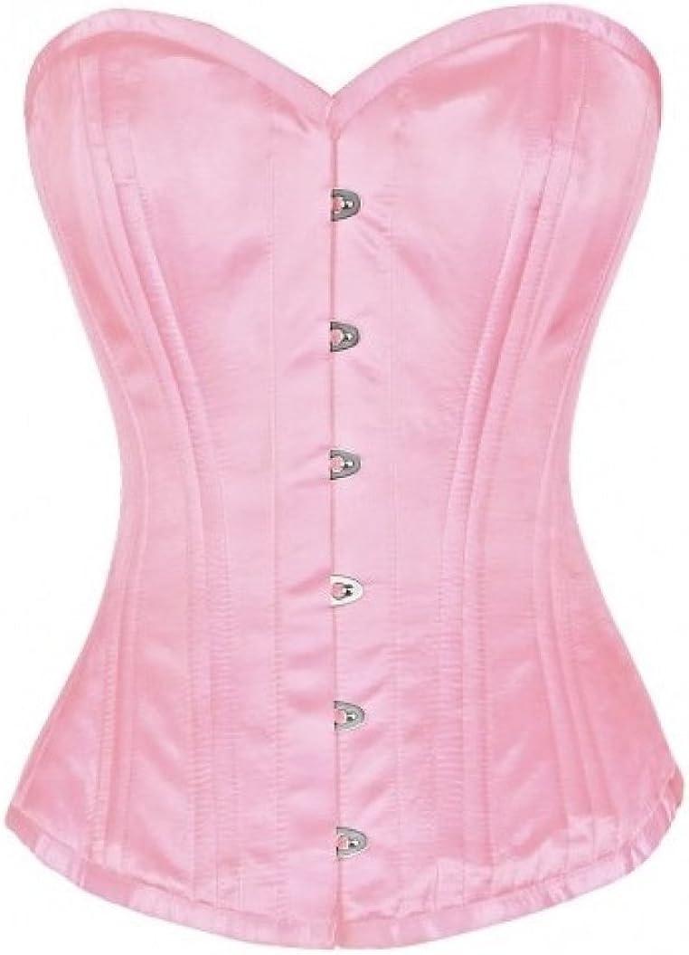 Plus Fashionable Size Steel Max 67% OFF Boned Corset Pink Satin Fairytale Costume Waist