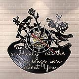NIGU Reloj vintage y de repente todas las canciones del amor eran todo sobre usted con cita inspiradora de vinilo records de pared de San Valentín pájaros retro reloj de pared Decoración records
