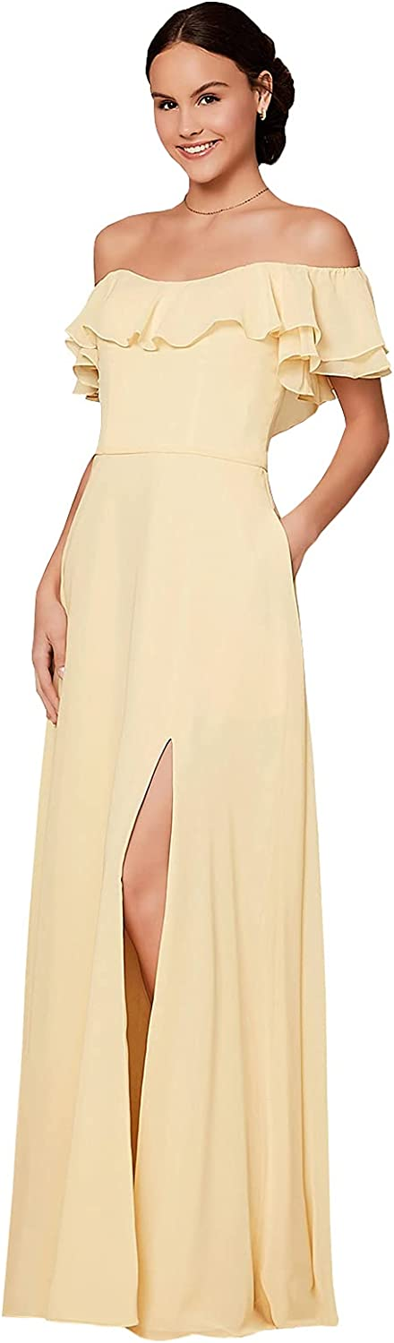 Women's Off The Shoulder Bridesmaid Dresses with Pockets Ruffle Chiffon Split Evening Party Long Formal Gown