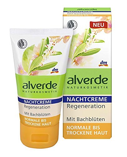 Alverde Bach-Flower Night Regeneration Face-Cream with Organic Ingredients - For Normal to Dry Skin - Certified Natural Cosmetic / Not Tested on Animals / Vegan - 50ml by Alverde Natural Cosmetic