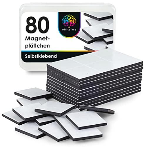 OfficeTree 80 Placas Magneticas 20 x 20 mm - Imanes Pegatina Imanes Autoadhesivos - Laminas de Iman en Negro para Fotos o Papel
