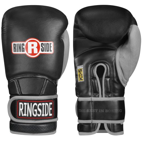 Ringside Gel Shock Safety Boxing Sparring Gloves, 16 oz., Black/Gray
