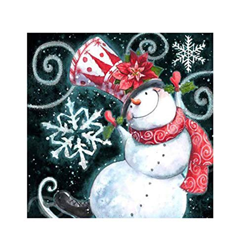 JoJody - Kit completo de pintura de punto de cruz, 5D con diamantes, kit completo para salón, dormitorio, decoración de pared, muñeco de nieve navideña, 30 x 30 cm