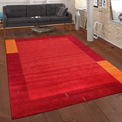 Paco Home Teppich Handgewebt Gabbeh Qualität 100% Wolle Bordüre Meliert In Orange, Grösse:80x150 cm