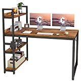 CubiCubi Computer Desk 55 inch with Storage Shelves Study Writing Table for Home Office,Modern Simple Style, Dark Rustic