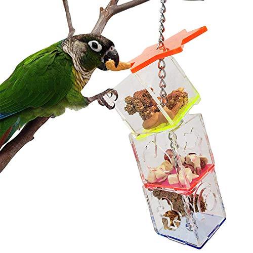 XIUNPR-6 Juguete de búsqueda de Loros Juguetes y comederos para pájaros Acrílico Transparente Jaula de pájaros para Loros Comedero para guacamayos Cacatúa Juguetes para pájaros Accesorios