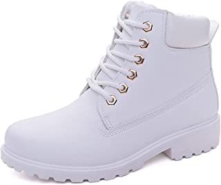 Women Short Combat Chelsea Retro Lace Up Martin Ankle High Tops Boots Work Hiking Trail Biker Shoes