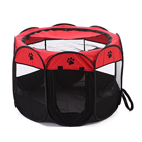 SuitmsRact PET Octagonal Cage Collapsible Pet Tent Pet Bed Oxford Cloth Outdoor Pet Cat Dog Cage Cage Fence,Red,M