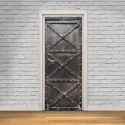 Wallflexi - Adhesivo decorativo para puerta (metal, 200 x 88 x 0,03 cm)