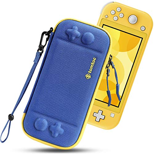 tomtoc Slim Carry Case for Nintendo Switch Lite, Protective Portable Carrying Cases with [Original Patent], Travel Storage Hard Shell with 8 Game Cartridges and Military Level Protection, Blue
