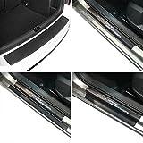 Carbon Style Einstiegsfolien & Ladekantenschutz Set con Chrom-Schriftzug para Corsa E (5 puertas)