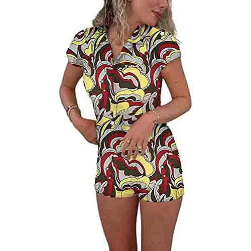 ADYD Mujeres Y2K Sexy Body Solapa Cuello Patrón Geométrico Estampado Apretado Mono Casual Solo Breasted Streetwear, rojo vino, L