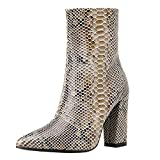 Moda Botas Puntiagudas de Tacón Grueso de Mujer TOPKEAL Botines con Estampada de Serpiente y Cremallera de Tacón Alto