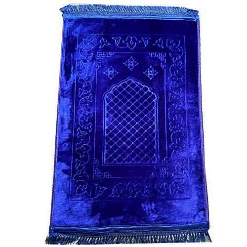 Alfombra acolchada musulmana para oración islámica Namaz (120 cm x 80 cm), alfombra acolchada para oración (azul real)