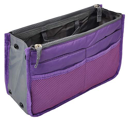 Vercord Purse Organizer Insert for Handbags Bag Organizers Inside Tote Pocketbook Women Nurse Nylon 13 Pockets Purple Medium