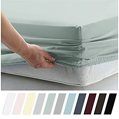California Design Den 400 Thread Count 100% Cotton 1 Fitted Sheet Only, Mod Spa King Size Sheet, Long - Staple Combed Pure Natural Cotton Sheet, Soft & Silky Sateen Weave