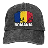 LLeaf Drapeau de la Roumanie Football Rugby Hommes Femmes Casquettes de Baseball Réglables Denim Jeanet Chapeau de Soleil