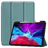 Tablet PC Bolsas Bandolera Estuche para el caso de la tableta del iPad Pro 12.9 2018/2020, Funda protectora Smart Stop Stop Smart con función de sueño automático y activación ( Color : Dark green )