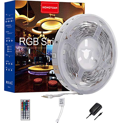 LED Strip Lights, 16.4ft Non Waterproof RGB 5050 LED Strips with Remote Controller, Color Changing Tape Light with 12V Power Supply for Room, Bedroom, TV, Kitchen, Desk HY-5050-RGB