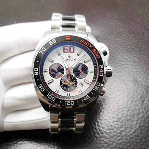 HHBB Marca de lujo cuarzo plata negro azul acero inoxidable hombres reloj cronógrafo zafiro cerámica bisel deporte reloj Aaa+ 9