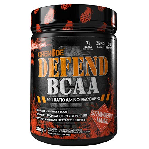 Grenade Defend BCAA Powder, Strawberry Mango, 390 g (7 g BCAA's Per Serving - 30 Servings Per Tub)