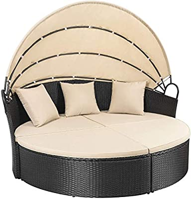 Homall Patio Furniture Outdoor Daybed with Retractable Canopy Wicker Furniture Sectional Seating with Washable Cushions for Patio Backyard Porch Pool Round Daybed Separated Seating (Beige)