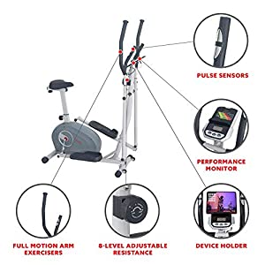 Sunny Health & Fitness 2 in 1 Magnetic Elliptical Upright Bike - SF-E3903 (SF-E3903)
