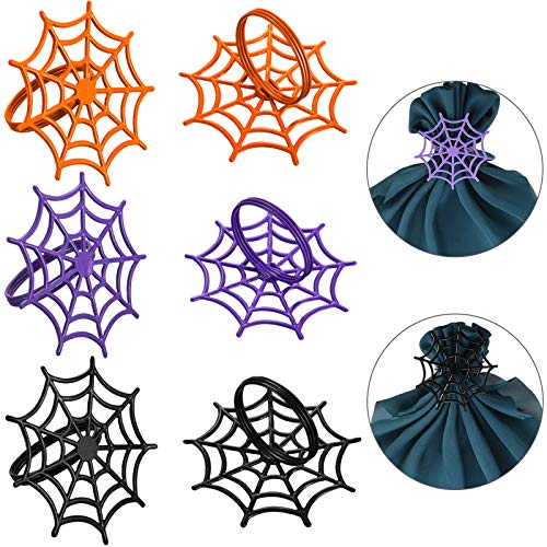 Boao 12 Pieces Halloween Spider Web Napkin Rings Set, Spooky Design Metal Napkin Holder for Halloween Costume Theme Party Supplies, Accessories, Table Decorations, 3 Colors