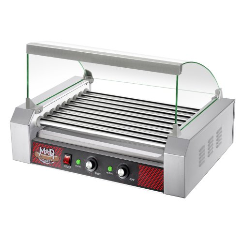 Great Northern Mad Dawg Commercial 9 Roller Stainless Steel Hot Dog Machine With Cover