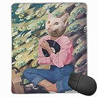 マウスパッド DJの猫 ゲーミング オフィス最適 高級感 おしゃれ 防水 耐久性が良い 滑り止めゴム底 ゲーミングなど適用 マウスの精密度を上がる( 22*18*0.3cm )