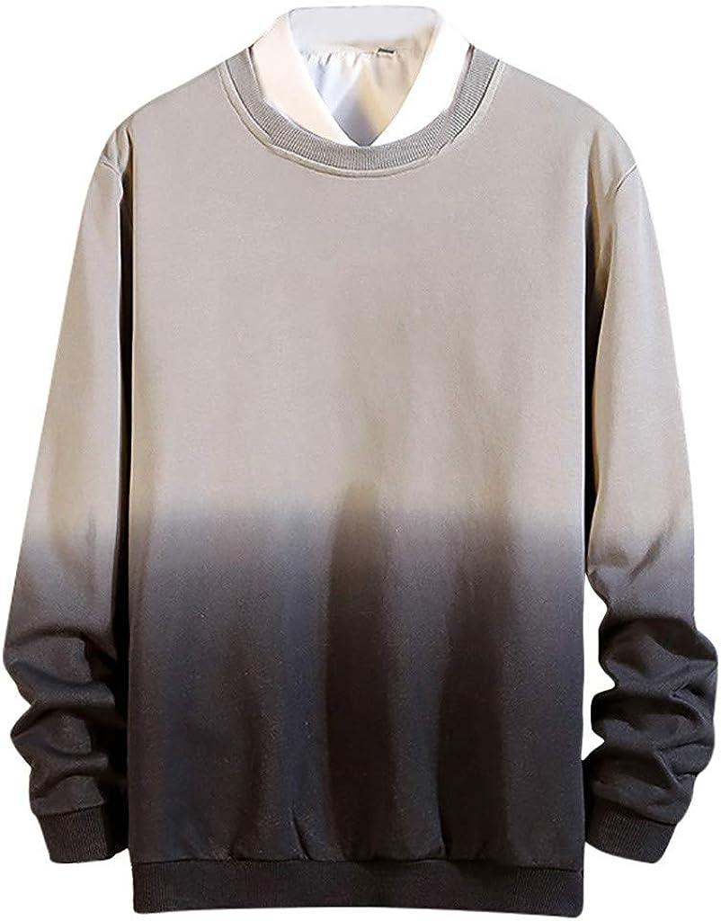 Gergeos Men Pullover Plus Size Long Sleeve Shirts Fashion O-Neck Gradient Sweatshirt