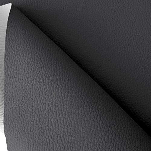 TOLKO Lederimitat mit Rindsleder Optik | weiche Premium Meterware | für Stuhl Bank Sessel Sofa Sitzbezug 140cm breit | Kunstleder Bezugstoff Polsterstoff Polsterbezug Möbelstoff (Dunkelgrau)