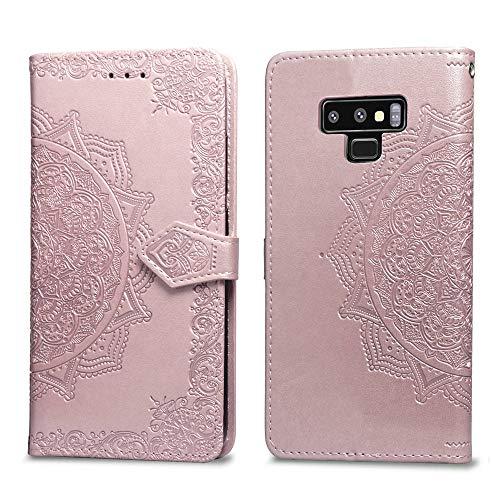 Abuenora Funda para Samsung Galaxy Note 9, Carcasa Libro con Tapa Flip Case Antigolpes Golpes Cartera PU Cuero Suave Soporte con Correa Cordel - Mandala Oro Rosa