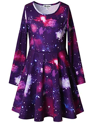 Jxstar Star Dresses for Girls Long Sleeve Swing Twirl Halloween Costume Outfits 4t 5t