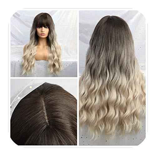 PJPPJH Perruques pour Femmes Cheveux Humains Femmes Blanches, Ombre Blonde Noir Brun Cosplay Lolita avec Frange Longue ondulée Perruque de Cheveux synthétiques